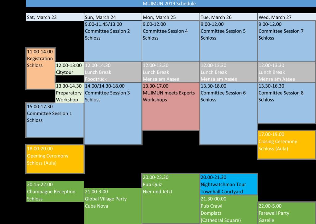 MUIMUN 2019 Schedule