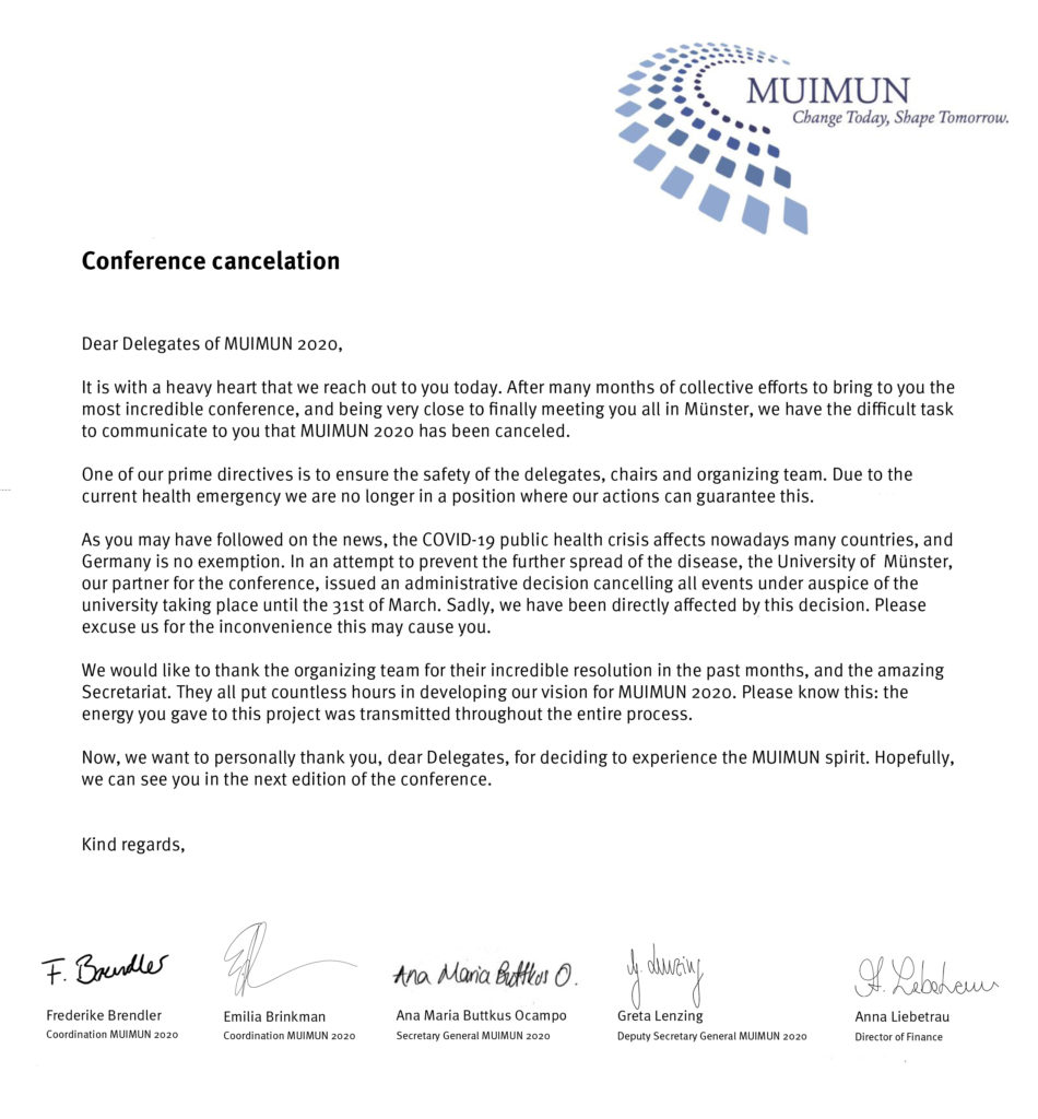 Conference Cancelation 1